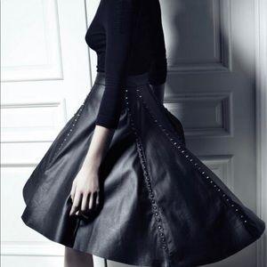 NWT Bebe F/W 2012 Leather Studded Hi Low Skirt